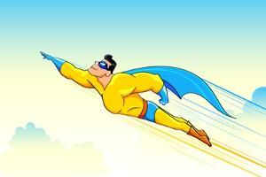 Illustration of Superhero Wearing Cape Flying in Sky by vectomart