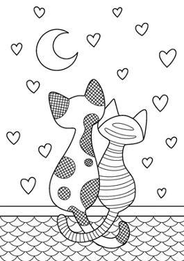 Vector Doodle Coloring Book Page Cats Sitting on the Roof and Look at the Moon on Hearts Background