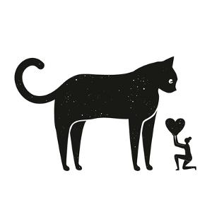 Vector Illustration with Woman Holding Heart and Huge Black Cat. Funny Domestic Animal Print Design