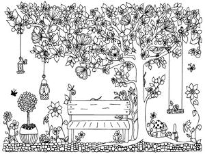 Vector Illustration Zentangl Park, Garden, Spring: a Bench, a Tree with Apples, Flowers, Swing, Doo