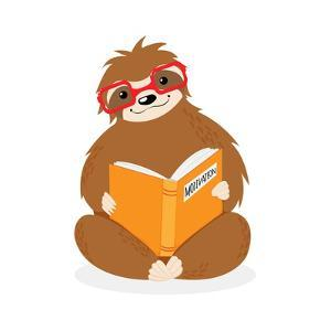 Vector Little Sitting Sloth in Red Glasses Reading Yellow Motivation Book. Hand Drawn Scandinavian