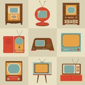 Retro Vintage Tv Set by vector pro