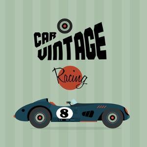 Vector Vintage Sport Racing Car by vector pro