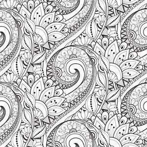 Vector Seamless Monochrome Floral Pattern. Hand Drawn Floral Texture, Decorative Flowers, Coloring