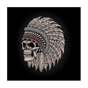 Native American Indian Chief Skull by vectorkingdom