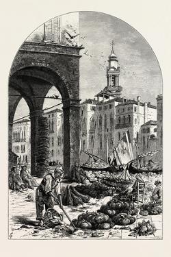 Vegetable Market on the Grand Canal, Near the Rialto, Venice, Italy, 19th Century