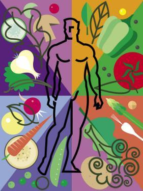 Vegetables and Man in Abstract Display