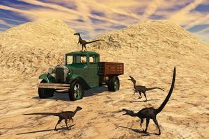 Velociraptors React Curiously to a 1930's American Pickup Truck