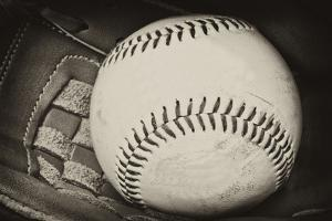 Antique Plate Style Photograph of Baseball and Glove Vintage Retro by Veneratio