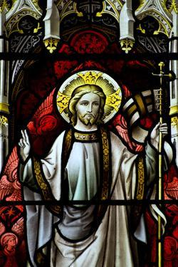 Beautiful Stained Glass Window Detail in 15Th Century Saxon Church of Resurrected Jesus by Veneratio