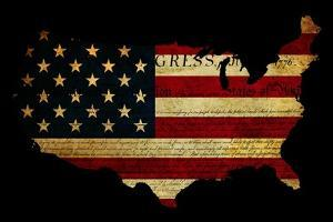 Declaration of Independence Grunge America Map Flag by Veneratio