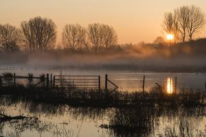 Landscape of Lake in Mist with Sun Glow at Sunrise by Veneratio