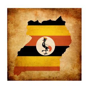Map Outline Of Uganda With Flag Grunge Paper Effect by Veneratio