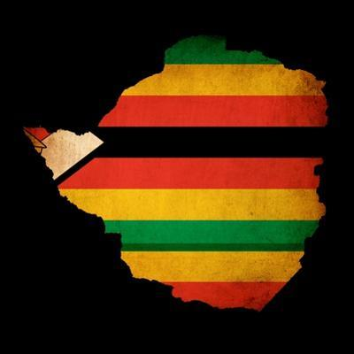 Map Outline Of Zimbabwe With Flag Grunge Paper Effect by Veneratio