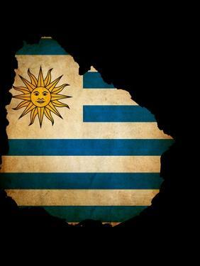 Outline Map Of Uruguay With Grunge Flag Insert Isolated On Black by Veneratio