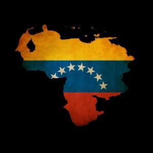 Outline Map Of Venezuela With Grunge Flag Insert Isolated On Black by Veneratio