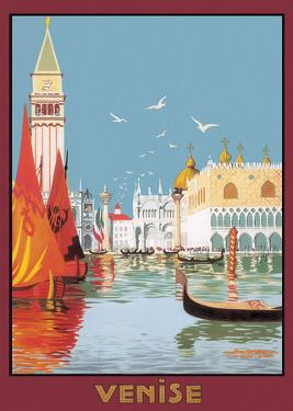 Venezia canale - Italian Vintage Style Travel Poster
