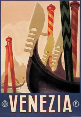 Venezia Gondole (Venice Gondola) Italian Vintage Style Travel Poster
