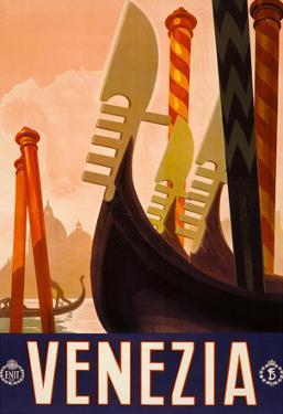 Venezia Italy Tourism Travel Vintage Ad Poster Print