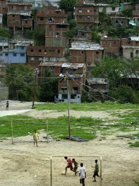 Venezuelan Children Play Soccer at the Resplandor Shantytown