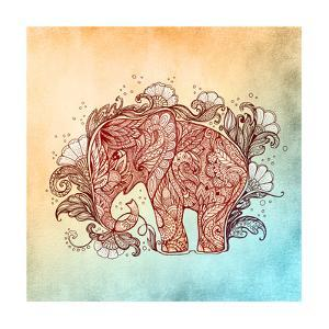 Beautiful Hand-Painted Elephant with Floral Ornament by Vensk
