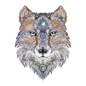 Tattoo Head Wolf Wild Beast of Prey by Vensk