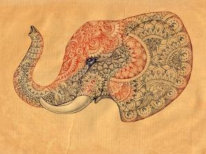 Tattoo Profile Elephant with Patterns and Ornaments by Vensk