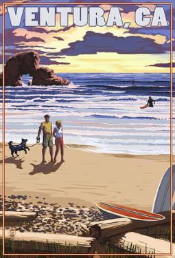 Ventura, California - Surfing Beach Scene