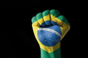 Fist Painted In Colors Of Brazil Flag by vepar5