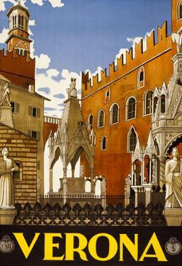 Verona Italy Tourism Travel Vintage Ad Poster Print