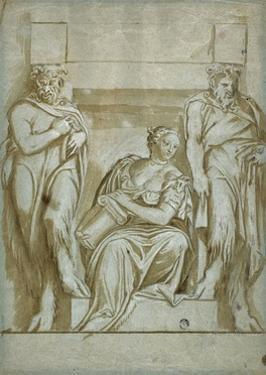 Fortitude (Or Strength) Flanked by Two Satyrs by Veronese
