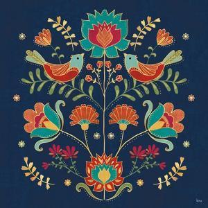 Folk Floral II Dark by Veronique Charron