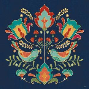 Folk Floral III Dark by Veronique Charron