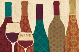 Wine Collage I with Glassware by Veronique Charron