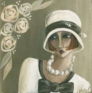 Femme Chapeau Blanc Beige by Véronique Didier-Laurent