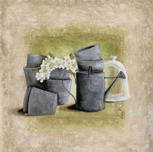Fleurs Blanches et Arrosoir by Véronique Didier-Laurent