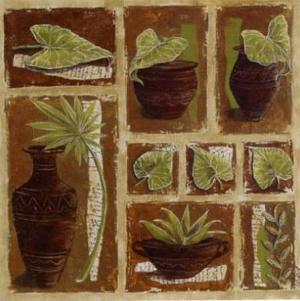 Pots Bruns et Feuillage Vert by Véronique Didier-Laurent