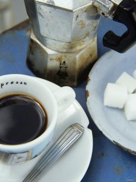 A Cup of Espresso, Sugar Cubes and Espresso Pot by Véronique Leplat
