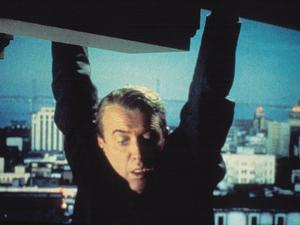 Vertigo, James Stewart, 1958, Hanging From The Building