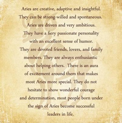 Aries Character Traits by Veruca Salt