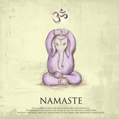 Elephant Yoga, Namaste Pose by Veruca Salt