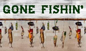 Gone Fishin' Wood Fishing Lure Sign by Veruca Salt