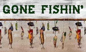 Gone Fishin' Wood Fishing Lure Sign by Veruca Salt