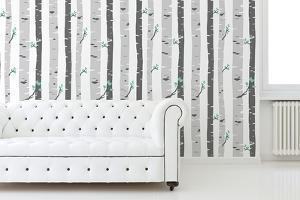 Vetiver Birch Tree Self-adhesive Wallpaper (Covering Area: ca 2.16m2)
