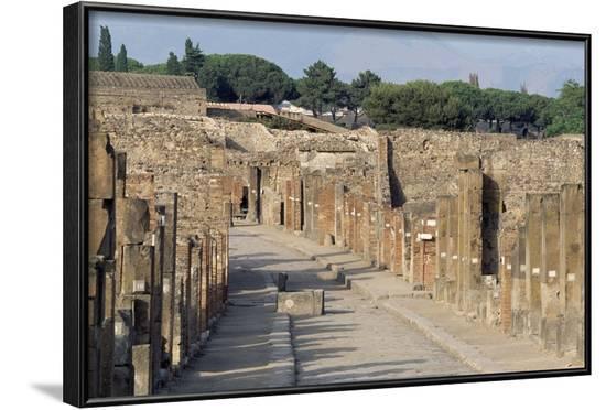 Via Dell'Abbondanza, Lower Decumanus of Pompeii--Framed Photographic Print