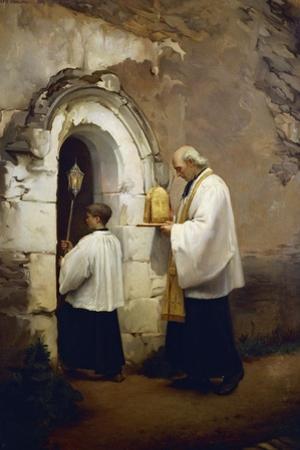 Viaticum, Painting by Alexis-Marie-Louis Douillard (1835-1905)
