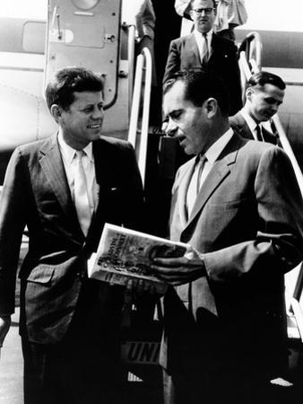 Vice-President Richard Nixon and Senator John Kennedy at Chicago's Midway Airport
