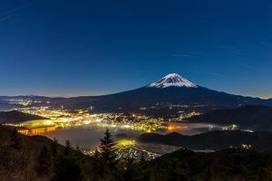 Aerial Mount Fuji with Kawaguchiko Lake at Night by vichie81