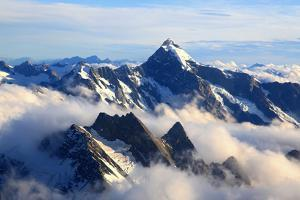 Alps Alpine Landscape of Mountain Cook Range Peak with Mist from Helicopter, New Zealand by vichie81