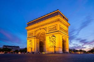 Arc of Triomphe Champs Elysees Paris City at Sunset by vichie81